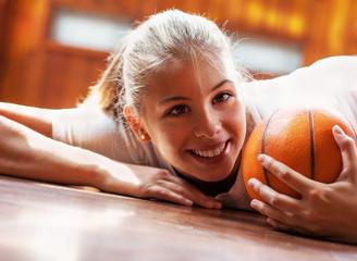 Cute volleyball girl, looking at camera