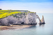 Etretat Aval cliff and rocks landmark and blue ocean . Normandy,