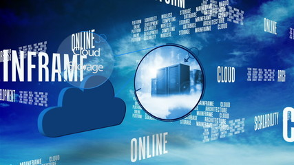 Cloud computing graphic against blue sky with text