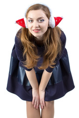 Photo of smiling young woman in winter headphones