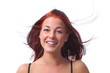 canvas print picture - Junge rootharige Frau dynamisch freigestellt