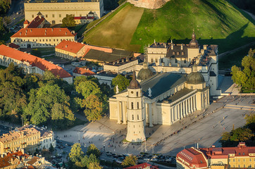 Aerial view of Old Town in Vilnius, Lithuania