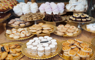 cakes at shop window