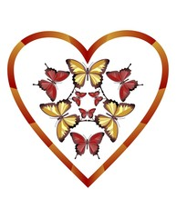 Heart with composition of yellow and red butterflies
