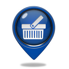 shopping cart pointer icon on white background