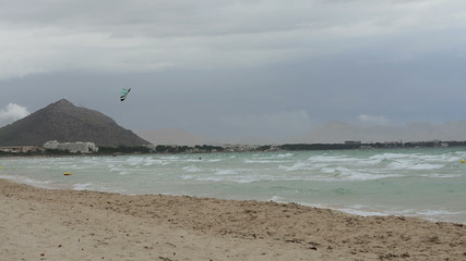 Kite surfers on Muro beach Majorca