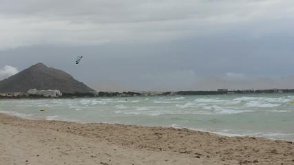 Kite surfers on Muro beach Majorca
