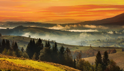 Sunset in the high  Carpathian mountains