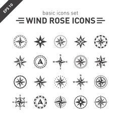 wind rose icons set.