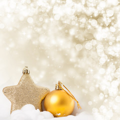 Christmas background with closeup on decorations:  golden chris