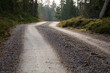 Gravel road at the top of a hill