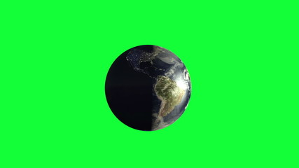 Planet Earth rotating on green screen focus italy