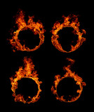 Set Ring of fire in black background