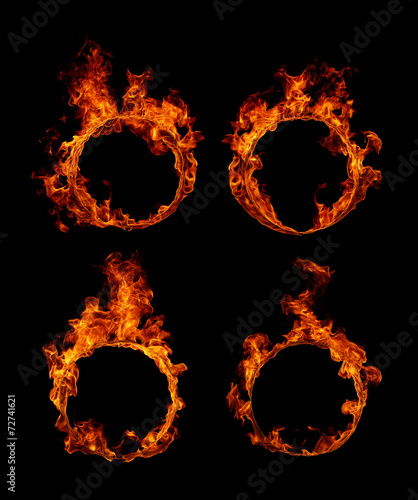 Aluminium Vuur / Vlam Set Ring of fire in black background