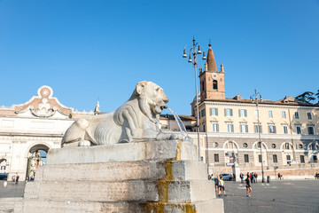 Lion Fountain in Piazza del Popolo, Rome italy
