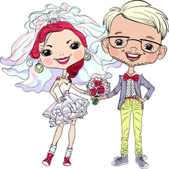 Vector Cute happy bride and groom