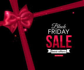 Black friday sale shining typographical background with