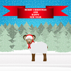Christmas sheep in the winter forest