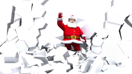 Santa crashes through a wall of ice and waves