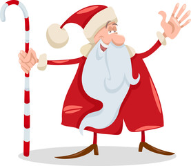 santa claus with cane cartoon