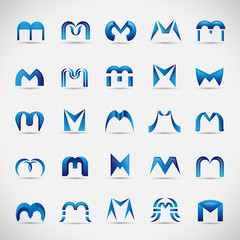 Letter Icons Set - Isolated On Gray Background