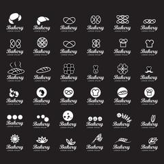 Bakery Icons Set - Isolated On Black Background