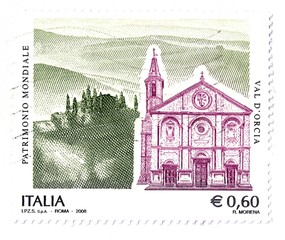 Italian stamp, Val d'Orcia, UNESCO World Heritage Site