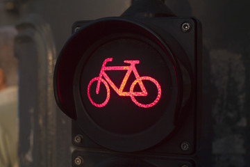Red light for bycicle lane on a traffic light
