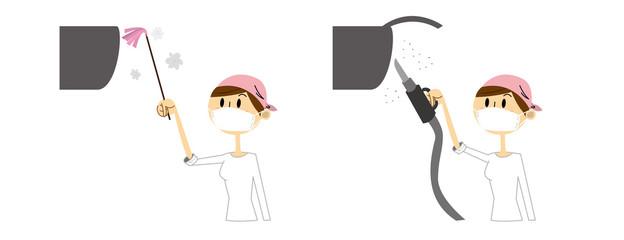 エアコン 掃除 女性