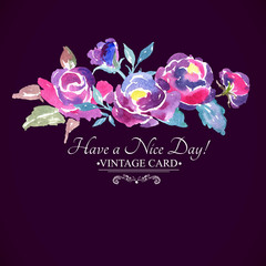 Colorful Watercolor Rose Floral Greeting Card