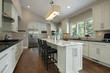 Kitchen with granite counter island