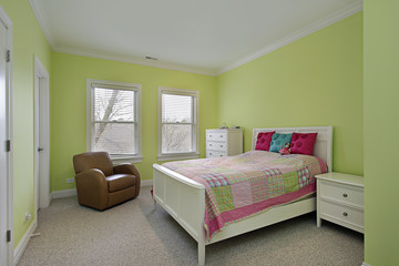 Bedroom with lime green walls