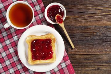 Toast with jam and tea