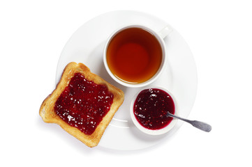 Plate with toast and tea