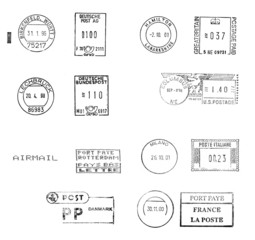 black postmarks from several European countries