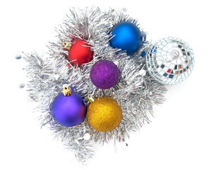 Christmas baubles, balls with tinsel on white background.
