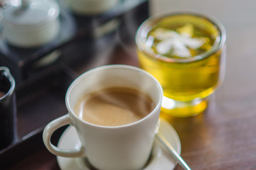 Coffee Cup and Green tea On Table