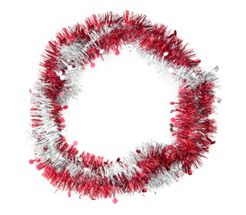 Red, white, tinsel wreath, garland on white. Background, frame r