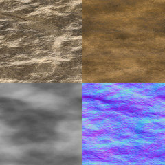 Wet stone seamless generated texture (with diffuse, bump and nor