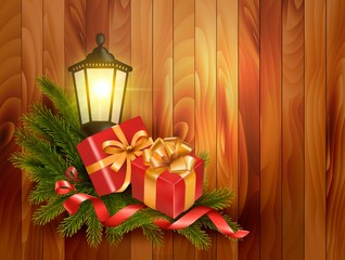 Christmas background with presents and a lantern. Vector.