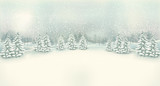Fototapety Vintage Christmas winter landscape background. Vector.