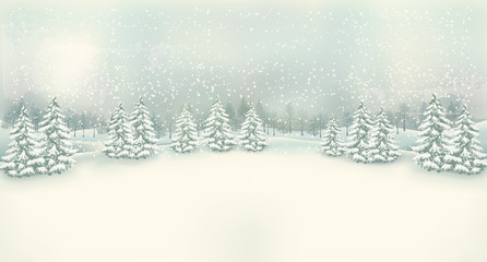 Vintage Christmas winter landscape background. Vector.