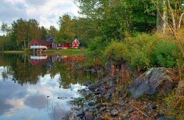 Swedish lake coast in September