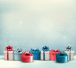 Holiday Christmas background with a border of gift boxes. Vector - 72746644