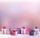 Fototapety Holiday Christmas background with a border of gift boxes. Vector