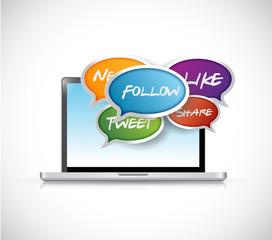 laptop social media communication