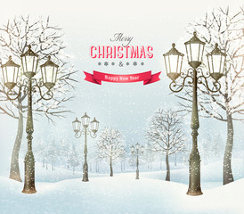 Christmas evening winter landscape with vintage lampposts. Vecto
