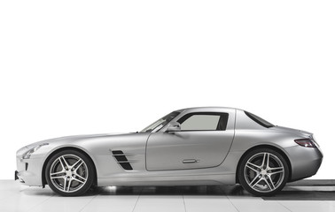 Sport car side view isolated on white background