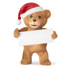teddy bear with empty card