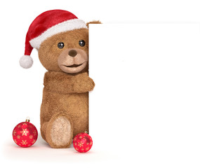 teddy bear with a christmas panel